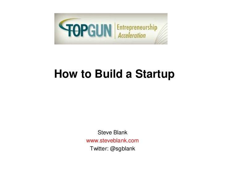 How to Build a Startup        Steve Blank     www.steveblank.com      Twitter: @sgblank