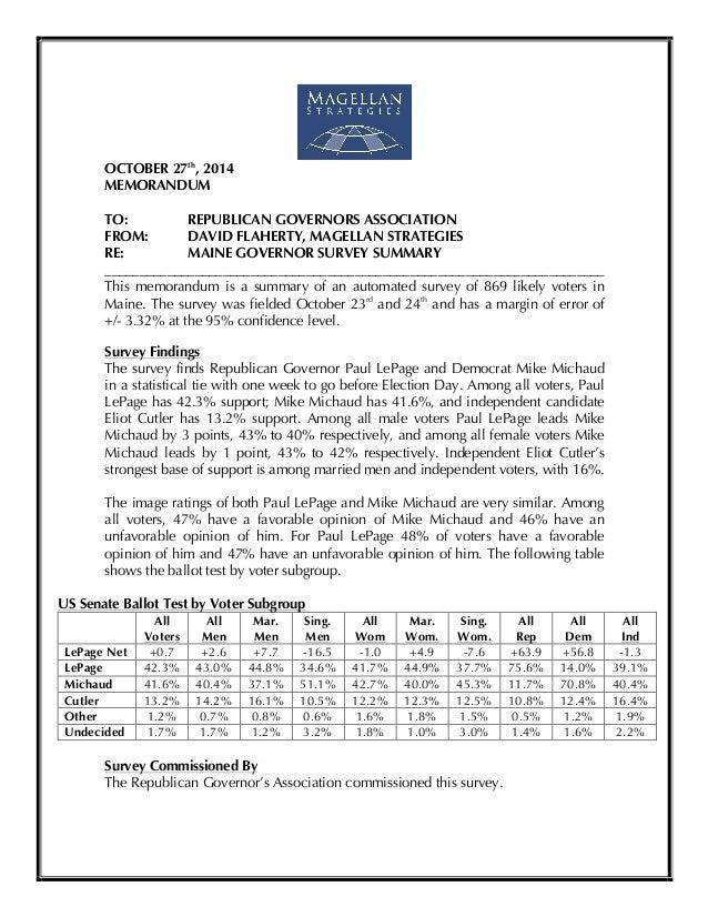 !  OCTOBER 27th, 2014  MEMORANDUM  TO: REPUBLICAN GOVERNORS ASSOCIATION  FROM: DAVID FLAHERTY, MAGELLAN STRATEGIES  RE: MA...