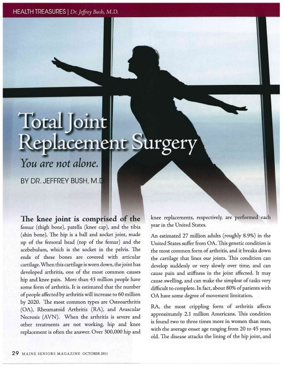 Jeff Bush article on Joint Replacement - Maine Seniors October 2011