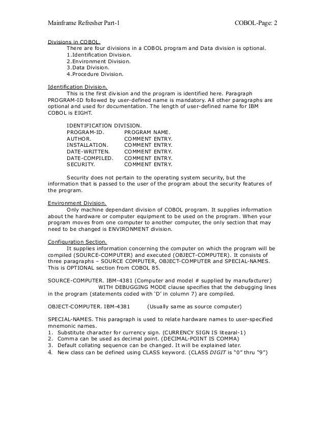 Mainframe refresher | mainframe computer | programmer.
