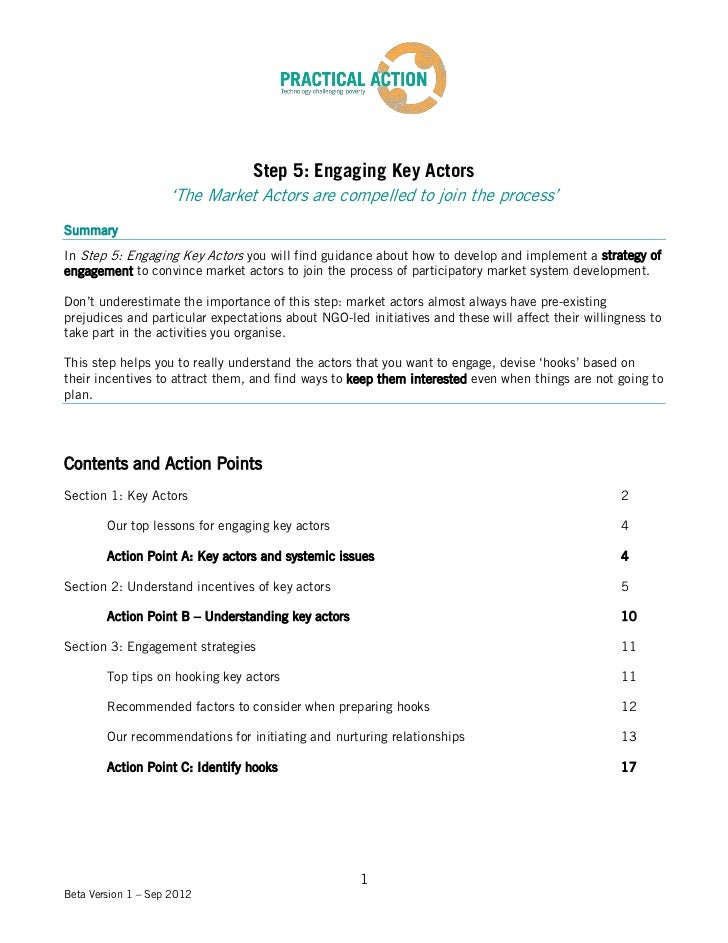 Step 5: Engaging Key Actors                    'The Market Actors are compelled to join the process'SummaryIn Step 5: Enga...