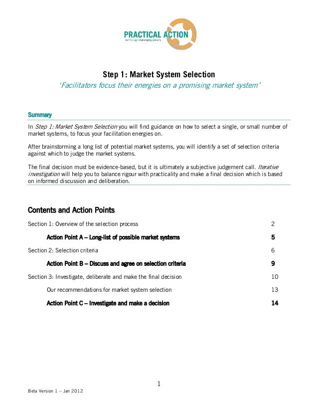 Step 1: Market System Selection             'Facilitators focus their energies on a promising market system'SummaryIn Step...
