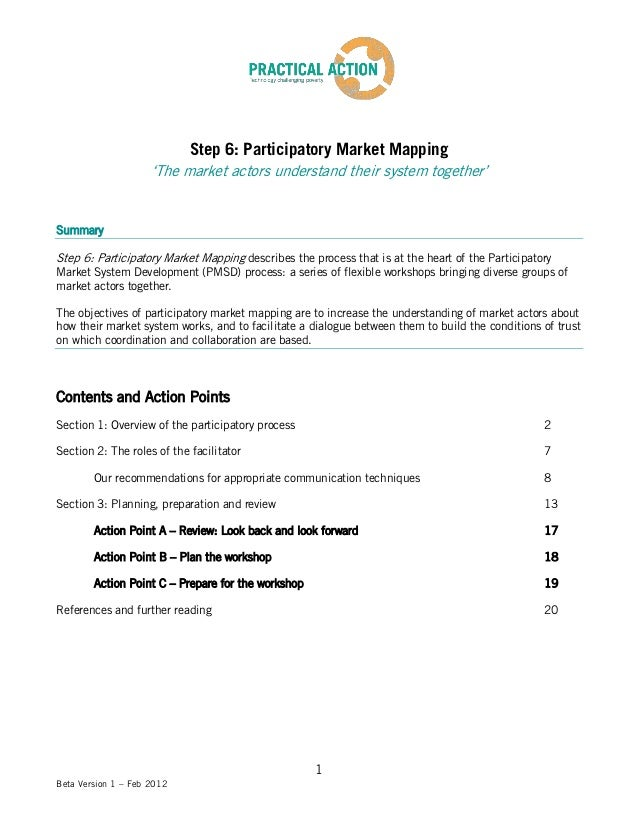 Step 6: Participatory Market Mapping                     'The market actors understand their system together'SummaryStep 6...