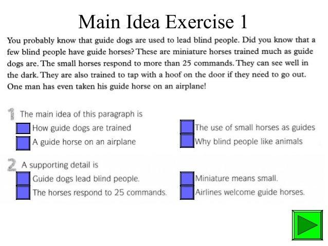 Main Idea Exercise 1