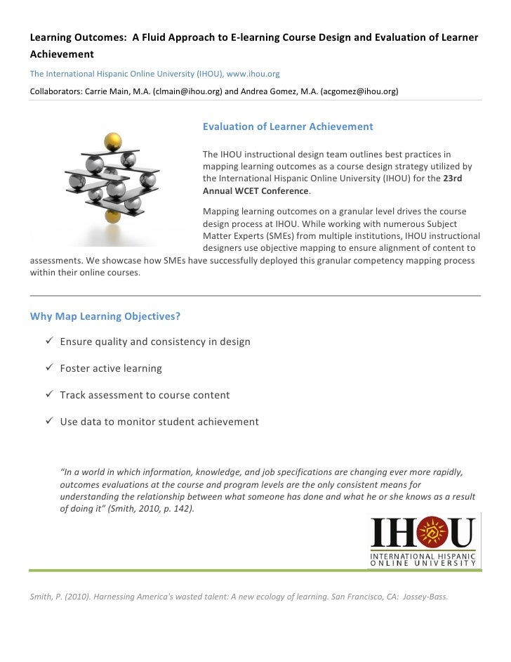 Learning Outcomes: A Fluid Approach to E-learning Course Design and Evaluation of LearnerAchievementThe International Hisp...