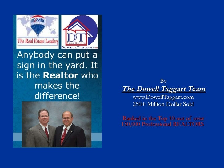 By The Dowell Taggart Team www.DowellTaggart.com 250+ Million Dollar Sold Ranked in the Top 10 out of over 150,000 Profess...