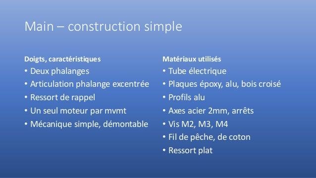 Main – construction simple Doigts, caractéristiques • Deux phalanges • Articulation phalange excentrée • Ressort de rappel...