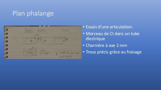 Plan phalange • Essais d'une articulation: • Morceau de CI dans un tube électrique • Charnière à axe 2 mm • Trous précis g...