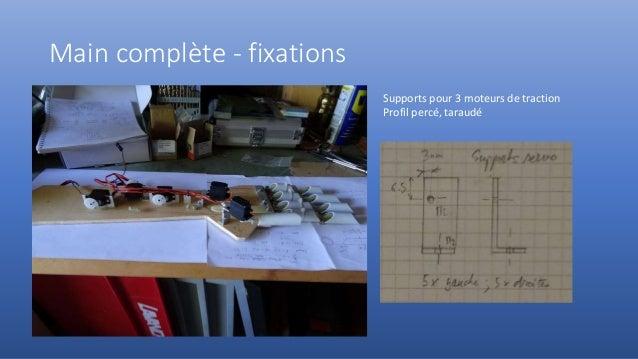 Main complète - fixations Supports pour 3 moteurs de traction Profil percé, taraudé