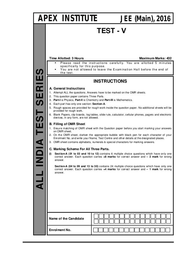TEST - V Time Allotted: 3 Hours Maximum Marks: 432  Please read the instructions carefully. You are allotted 5 minutes sp...