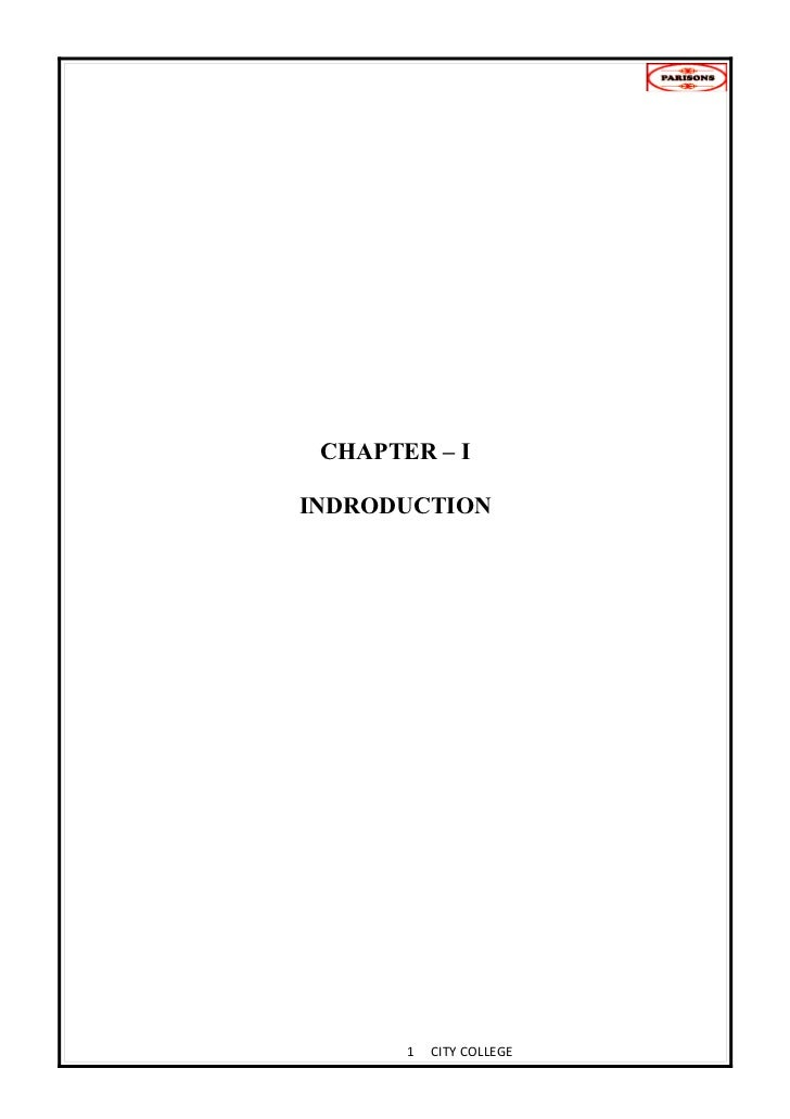 CHAPTER – IINDRODUCTION       1   CITY COLLEGE