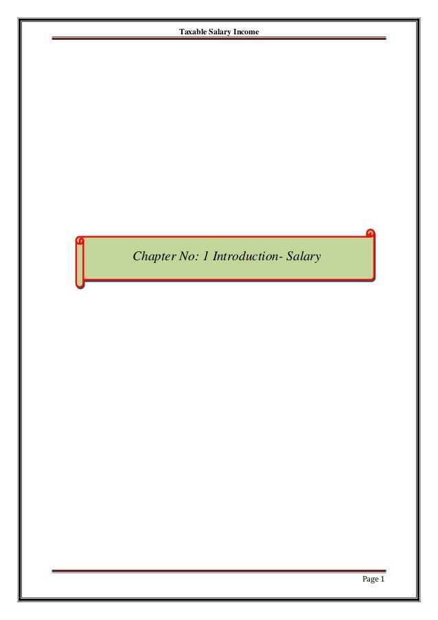 Taxable Salary Income  Chapter No: 1 Introduction- Salary  Page 1