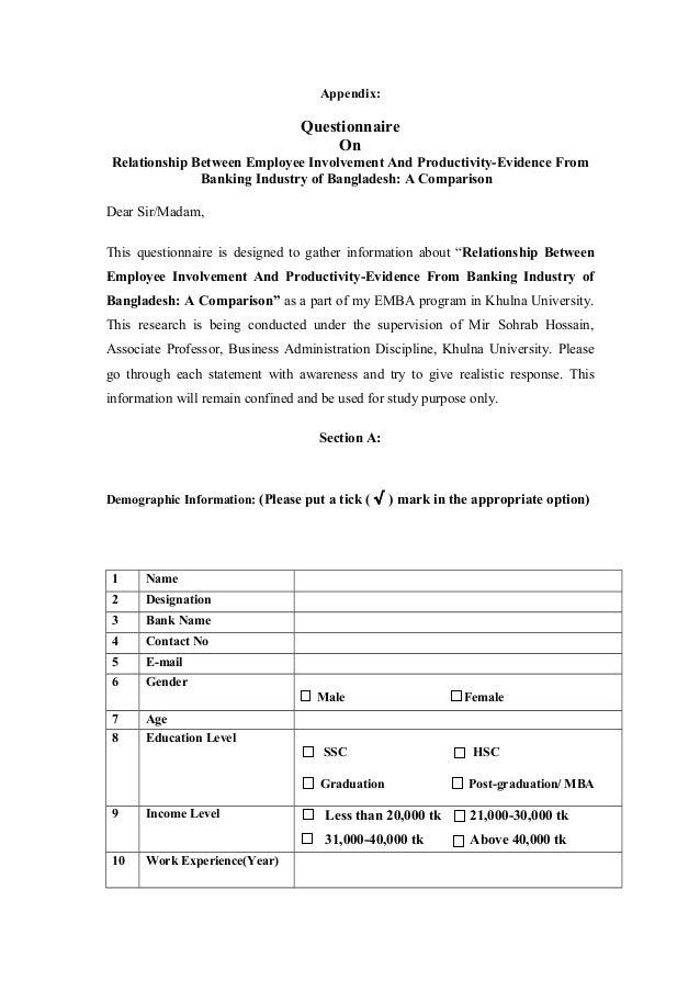 Dissertation appendix questionnaire