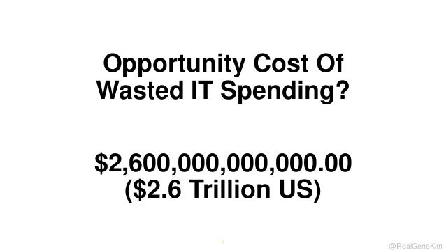Opportunity Cost Of Wasted IT Spending? $2,600,000,000,000.00 ($2.6 Trillion US) 2  @RealGeneKim