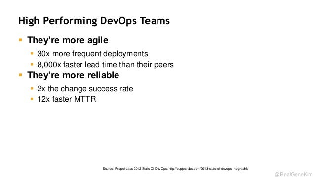 High Performing DevOps Teams  They're more agile  30x more frequent deployments  8,000x faster lead time than their pee...