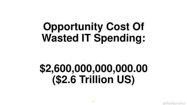 Opportunity Cost Of Wasted IT Spending: $2,600,000,000,000.00 ($2.6 Trillion US) 52  @RealGeneKim