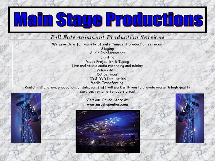 We provide a full variety of entertainment production services   Staging Audio Reinforcement Lighting Video Projection & T...