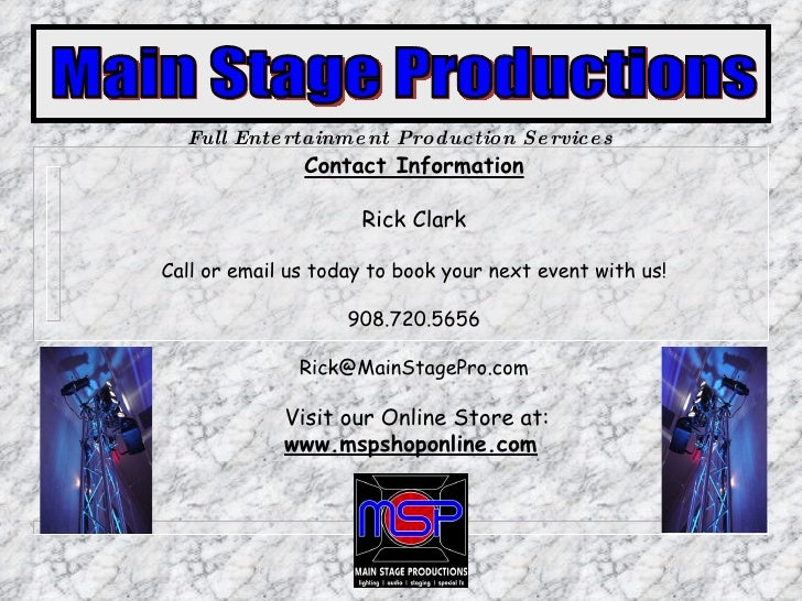 Contact Information Rick Clark Call or email us today to book your next event with us! 908.720.5656 [email_address]   Visi...