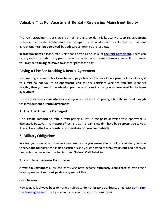 Valuable Tips For Apartment Rental   Reviewing Mainstreet Equity The Rent  Agreement Is A Crucial Part ...