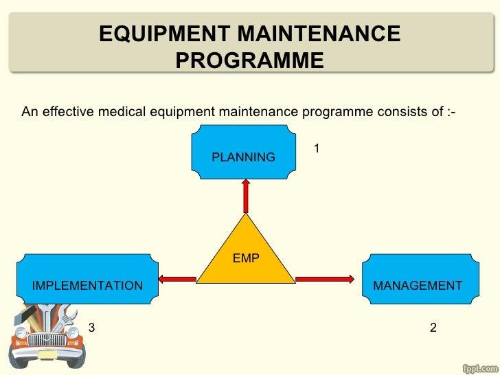 EQUIPMENT MAINTENANCE                   PROGRAMMEAn effective medical equipment maintenance programme consists of :-      ...