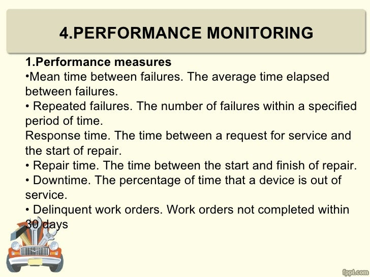 4.PERFORMANCE MONITORING1.Performance measures•Mean time between failures. The average time elapsedbetween failures.• Repe...
