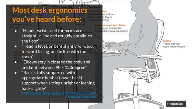 """@petersouter #HumanOps Most desk ergonomics you've heard before: ● """"Hands, wrists, and forearms are straight, in line and ..."""
