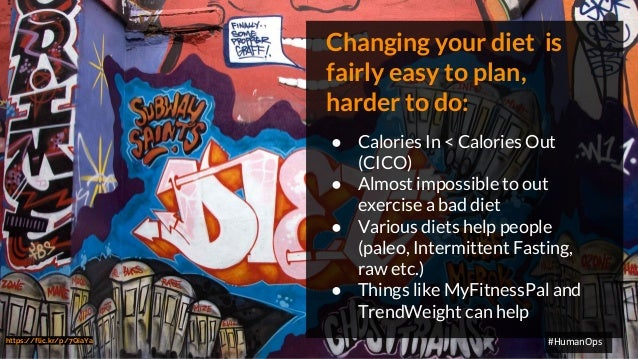 @petersouter #HumanOps Changing your diet is fairly easy to plan, harder to do: ● Calories In < Calories Out (CICO) ● Almo...