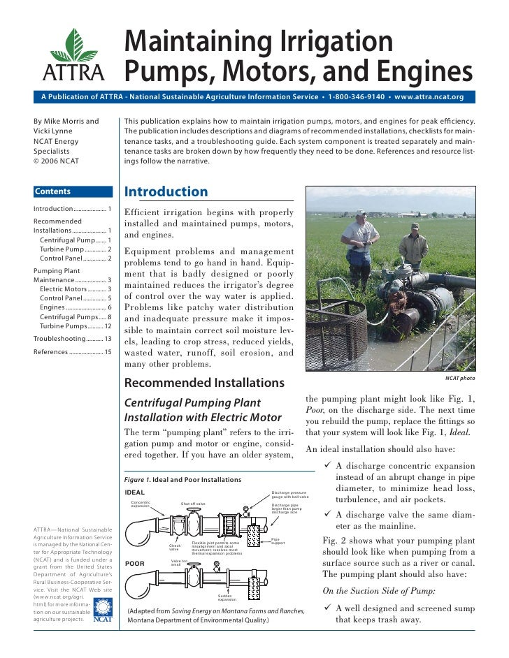 Maintaining Irrigation    ATTRA                                Pumps, Motors, and Engines   A Publication of ATTRA - Natio...