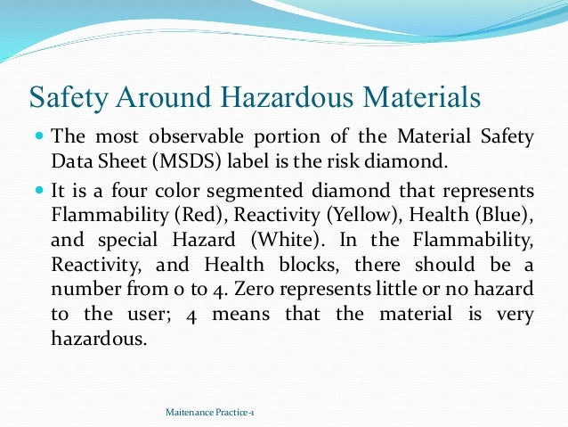Safety Around Hazardous Materials  The most observable portion of the Material Safety Data Sheet (MSDS) label is the risk...