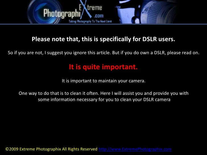 Please note that, this is specifically for DSLR users. <br />So if you are not, I suggest you ignore this article. But if ...