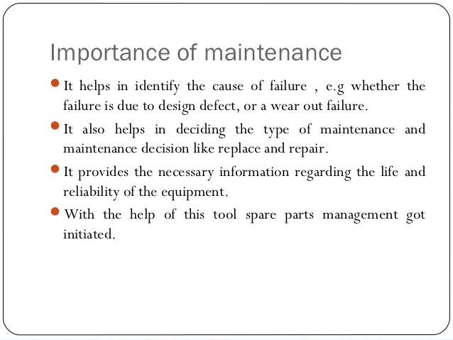 the importance of preventive maintenance The importance of preventive maintenance for your equipment by atlas industries published on october 9, 2015 the importance of a doctor in our life: most of us usually visit the doctor only when we fall sick or have some serious problem in our body the doctor will ask for the symptoms of the problem reported and give a suitable medicine.