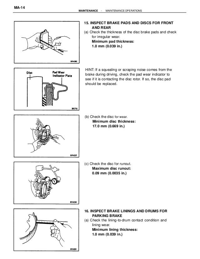 Brake Lining Thickness Minimum : Maintenance
