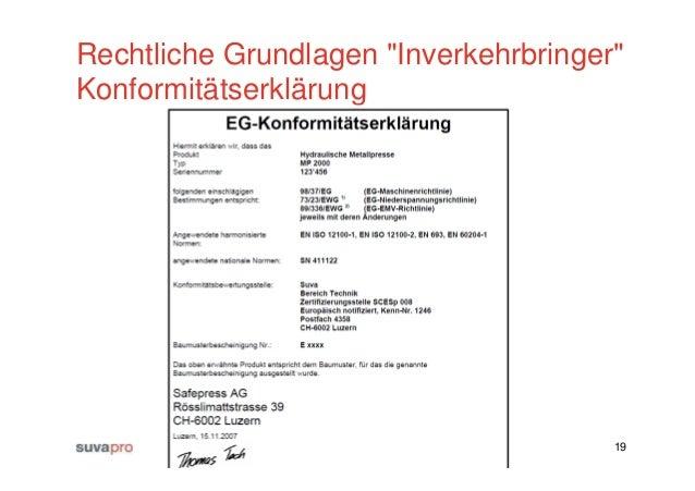 direktimport 19 rechtliche grundlagen inverkehrbringer konformittserklrung - Konformitatserklarung Beispiel