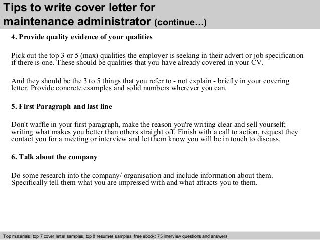 Maintenance administrator cover letter