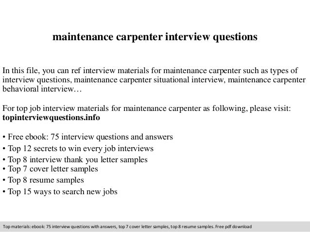 Maintenance Carpenter Interview Questions In This File, You Can Ref  Interview Materials For Maintenance Carpenter ...