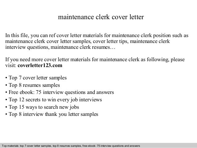 Maintenance clerk cover letter