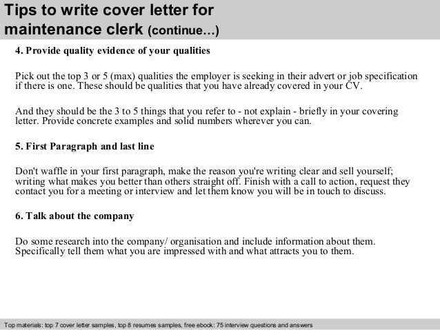 Maintenance clerk cover letter