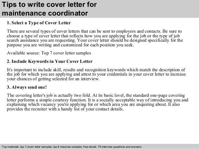 Maintenance Coordinator Cover Letter