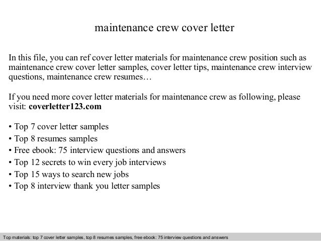 maintenance crew cover letter