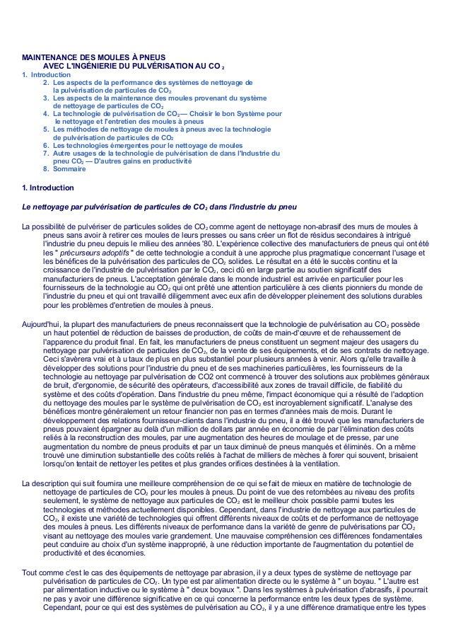 MAINTENANCE DES MOULES À PNEUS     AVEC LINGÉNIERIE DU PULVÉRISATION AU CO                21. Introduction       2. Les as...