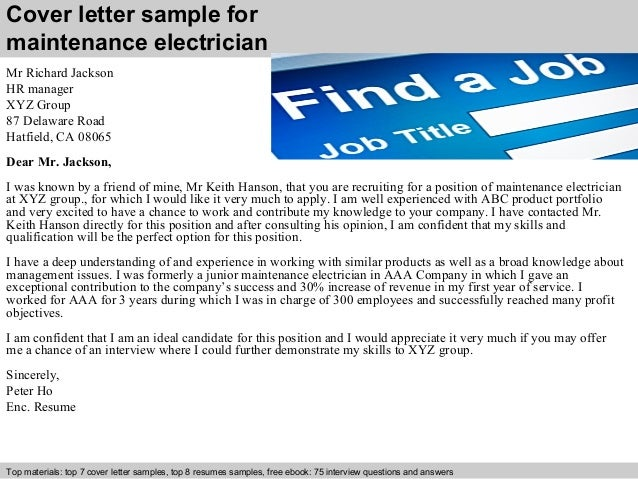 Cover Letter Sample For Maintenance Electrician ...
