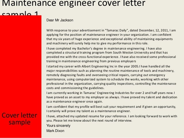Elegant Maintenance Engineer Cover Letter ...