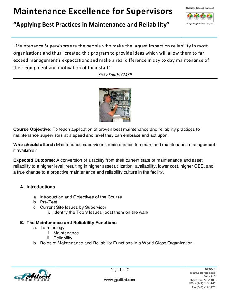 "Maintenance Excellence for Supervisors ""Applying Best Practices in Maintenance and Reliability""   ""Maintenance Supervisors..."