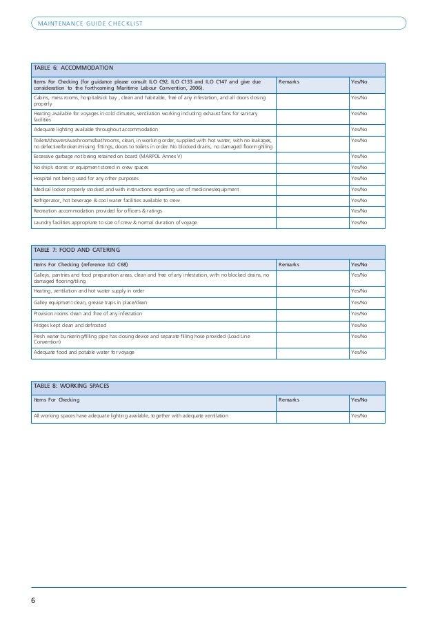 Preventative Maintenance Listing for Accommodations