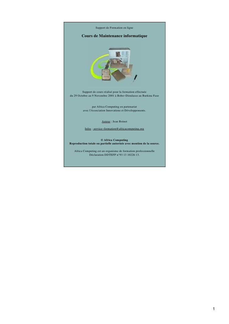 Support de Formation en ligne         Cours de Maintenance informatique         Support de cours réalisé pour la formation...