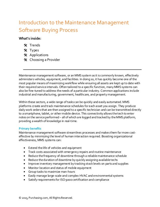 maintenance management software purchasing guide purchasing com rh slideshare net CMMS Maintenance Management Software software maintenance guide