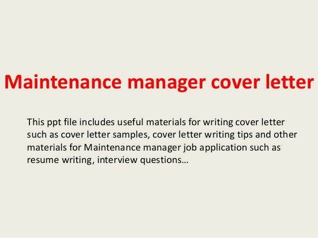 Awesome Maintenance Manager Cover Letter This Ppt File Includes Useful Materials  For Writing Cover Letter Such As ...