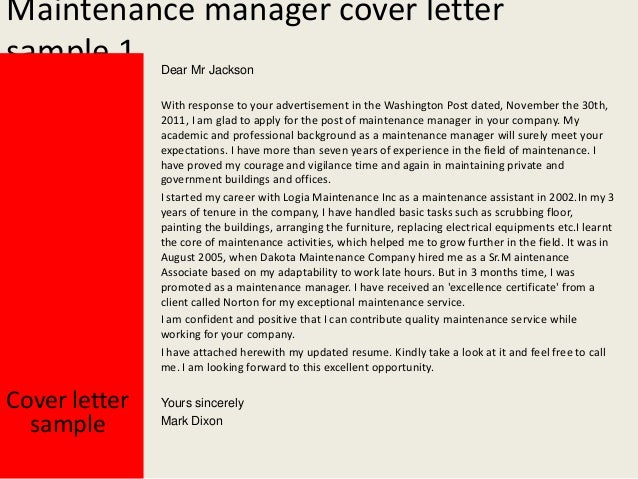 Cover Letter For Maintenance Manager