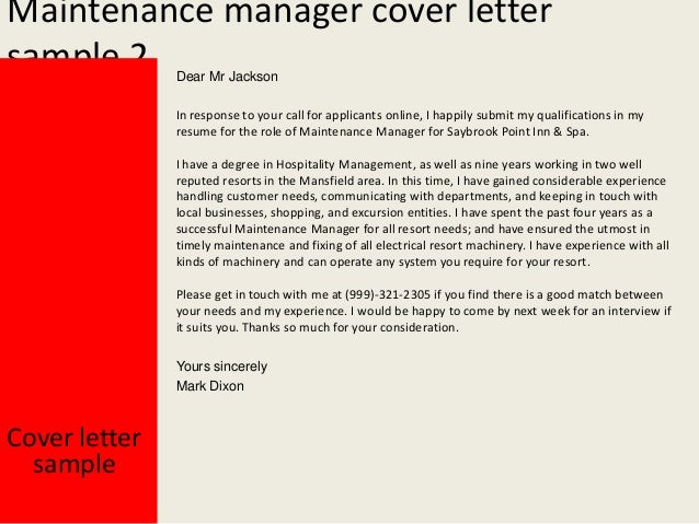 Amazing Cover Letter Sample Yours Sincerely Mark Dixon; 3. Maintenance Manager ...