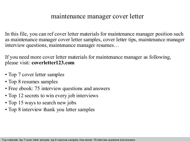 Maintenance Manager Cover Letter